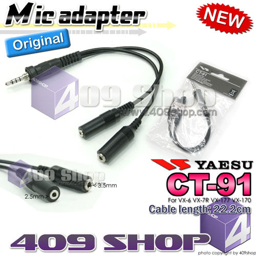 YAESU CT-91 MIC adapter for VX-6 VX-7R VX-177 VX-170