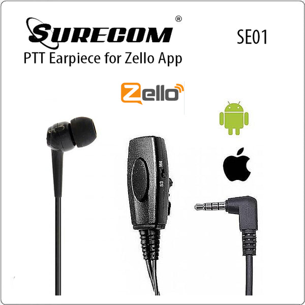 Wire  Big PTT  Earpiece for Zello app support I-oS zello