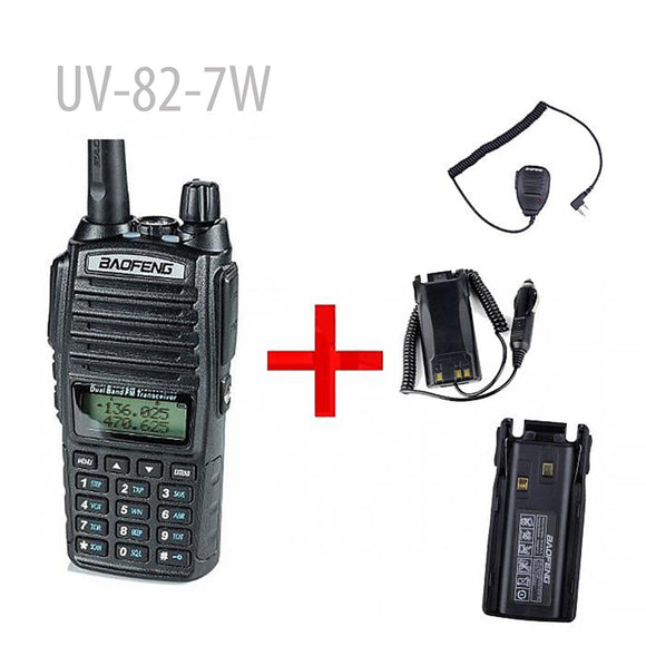 BaoFeng UV-82-7W High Power Dual Band Radio FREE FOR Car Charger+ Speaker Mic + 1800MAH BATTERY