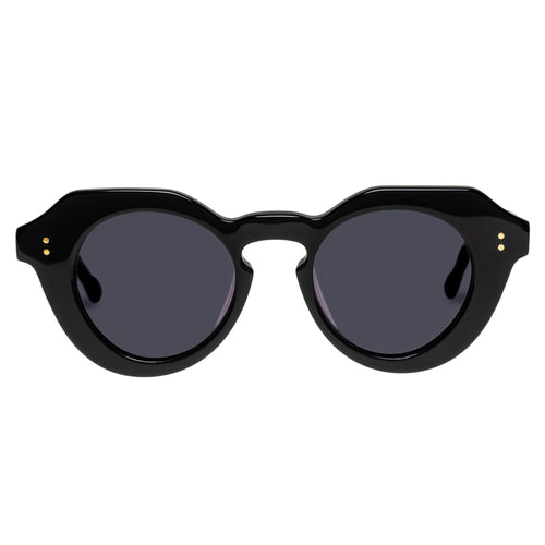 Le Specs Female Capella Black Round Prescription Ready Sunglasses