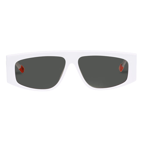 Le Specs Uni-Sex Starship White Rectangle Prescription Ready Sunglasses
