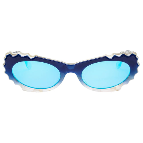 Le Specs Female Protozoa Blue Cat-Eye Sunglasses