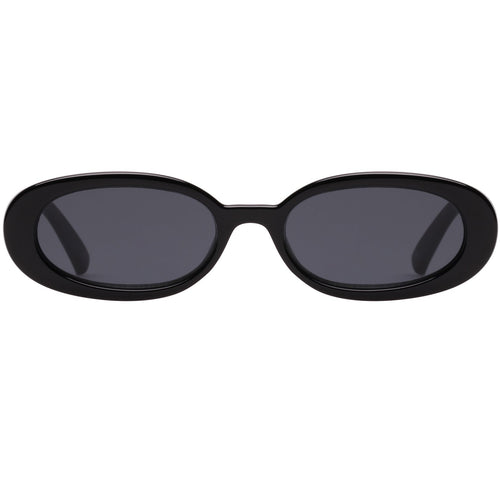 Le Specs Outta Love Womens Black Oval Sunglasses