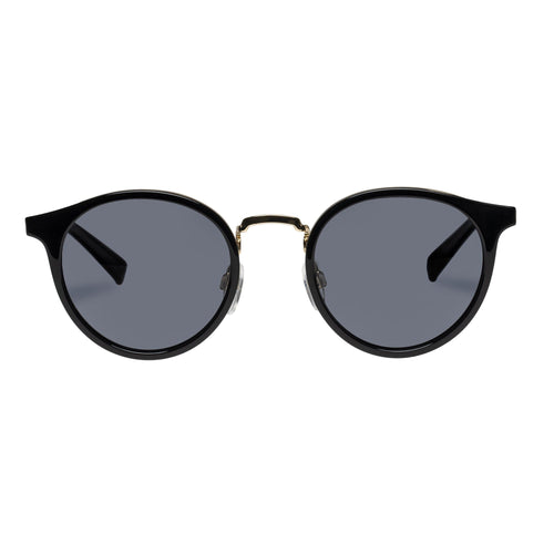 Le Specs Polarised Tornado Uni-Sex Black Round Sunglasses