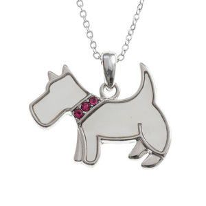 Mother of Pearl White Scottie Dog Necklace
