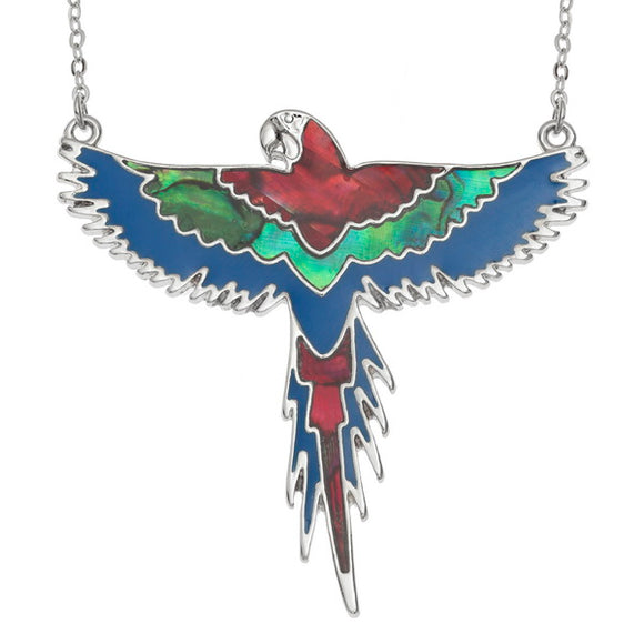 Paua Shell Macaw Parrot Necklace