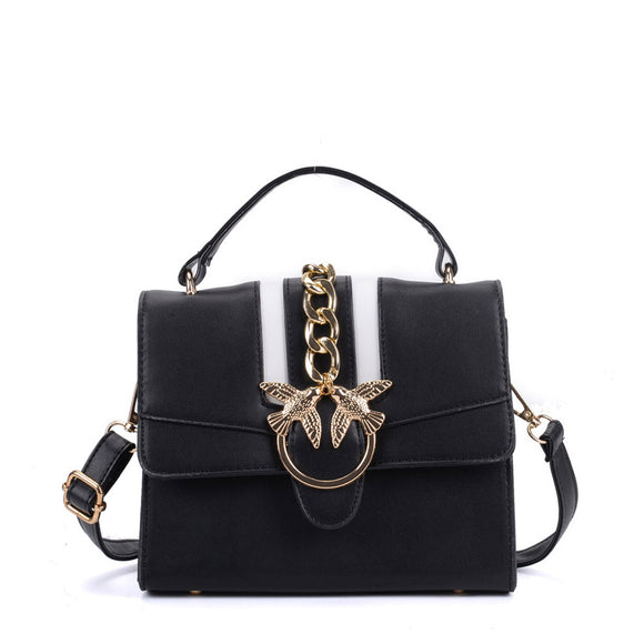 K0011 Black - Contrast Colour Across Body Bag With Metal
