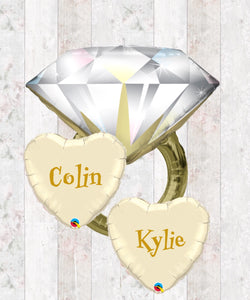Engagement Ring Foil Bouquet in a Box - Helium filled  - Can be Personalised
