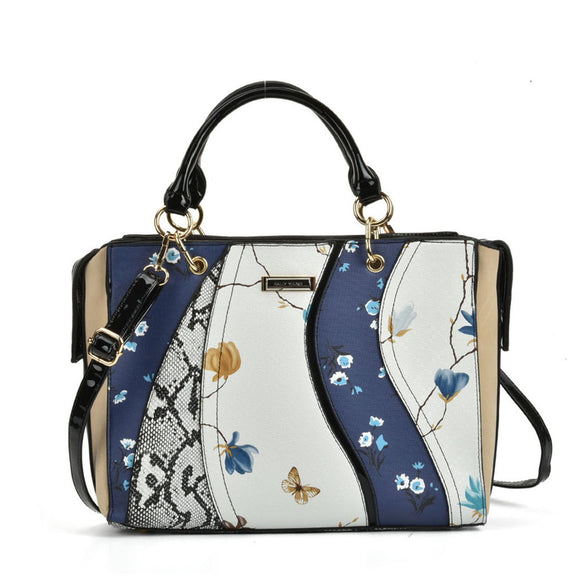 SY5051 Blue - Patchwork Tote Bag With Floral Detail