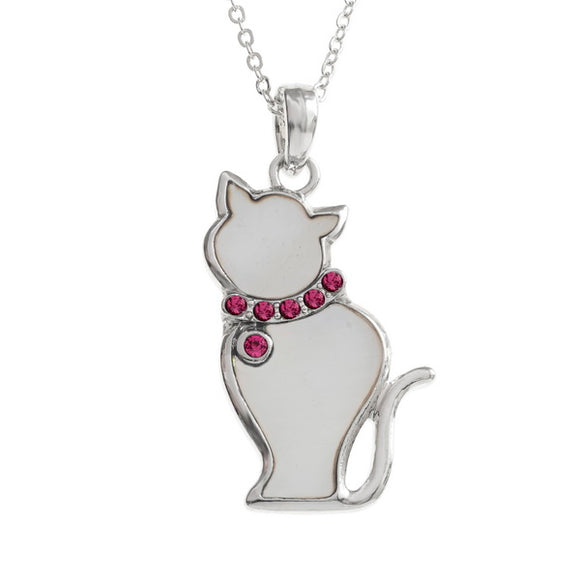 Mother of Pearl White Cat Necklace