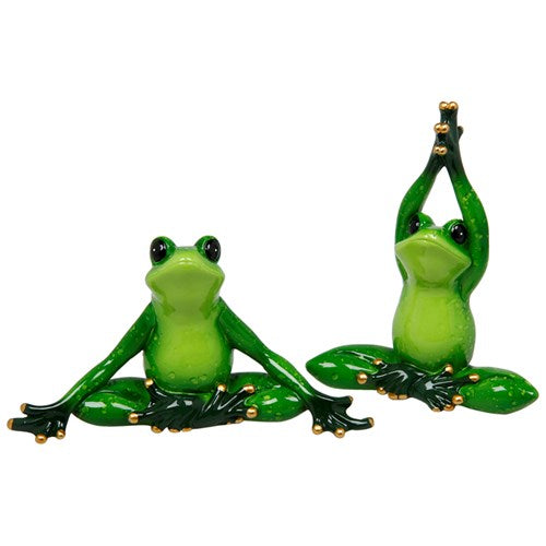 Ceramic Small Green Tropical Yoga Tree Frog Small -