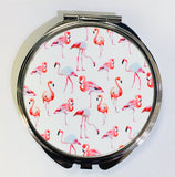 Just Saying Round Compact - Flamingos