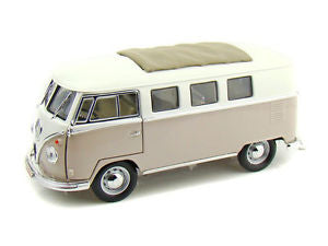1962 Volkswagen Microbus Cream With Retractable Roof 1/18 Scale Diecast Car Model By Road Signature 92327