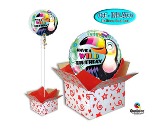 "Inflated 18"" Toucan Wild Birthday Foil Balloon in a Box"