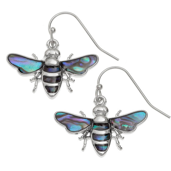 Paua Shell Bee Hook Earrings