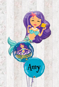 Mystical Mermaid Foil Bouquet in a Box - Helium filled - Can be personalised
