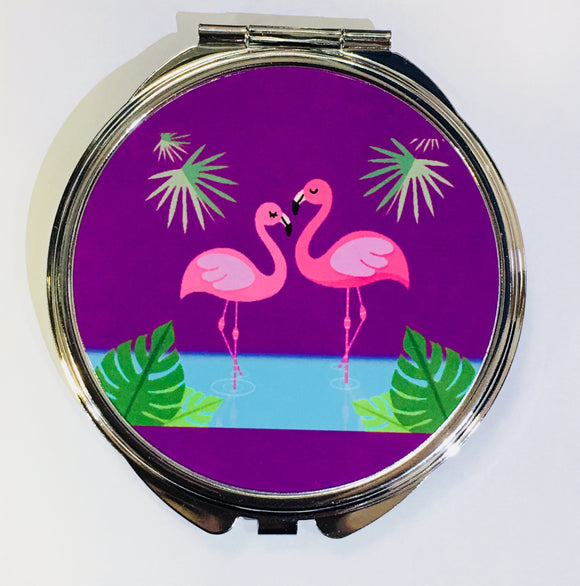 Just Saying Round Compact - Flamingos Purple