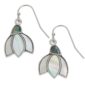 Paua and Mother of Pearl shell Snowdrop flower hook earrings