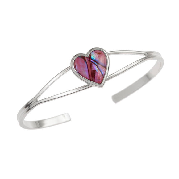 Beautiful Inlaid Paua Shell Heart Bangle - Pink