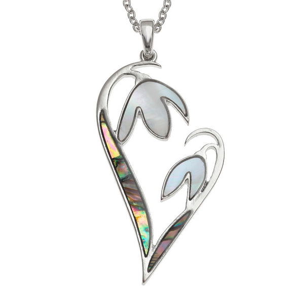 Paua and Mother of Pearl shell Snowdrop flower heart pendant