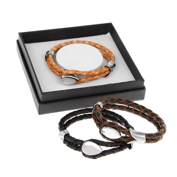 Equilibrium Mens Double Leather Looped Bracelet