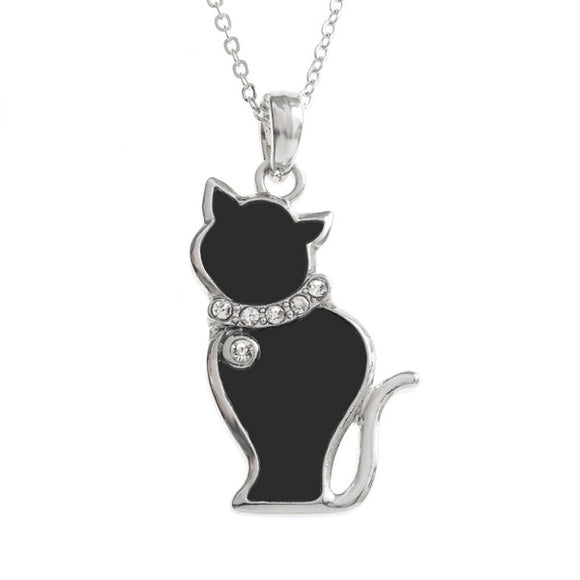Black Enamel Cat Necklace