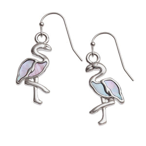 Mother of Pearl Pink Flamingo Hook Earrings