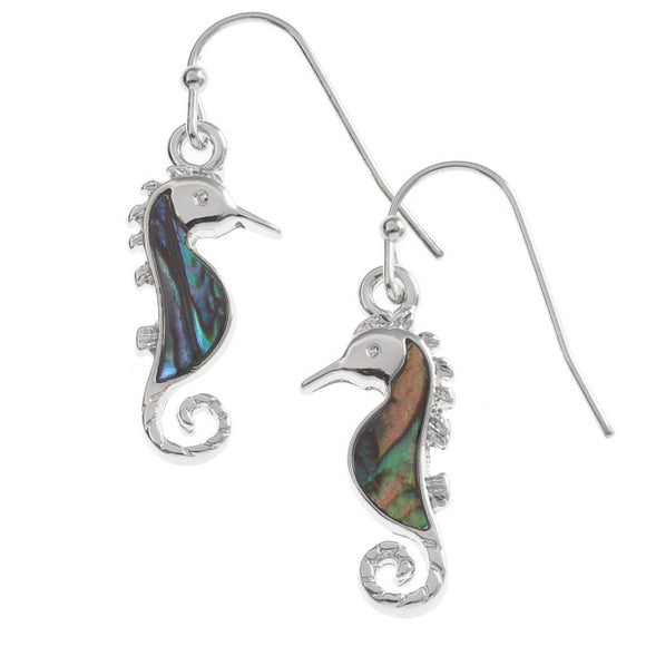 Paua Sea Horse Hook Earrings