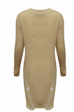 SAND DISTRESSED KNITTED JUMPER-DRESS