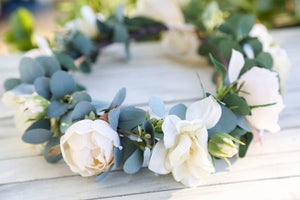 Flower Crown - Ivory Roses and Sage