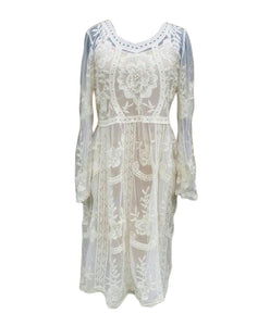 Long sleeve white lacematernity dress with floral patterns