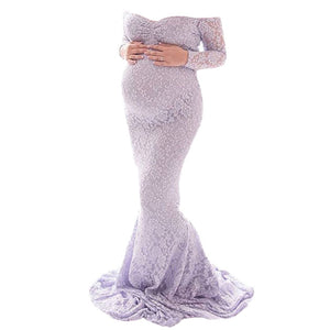Long sleeve off the shoulder fitted lace maxi maternity gown in lilac