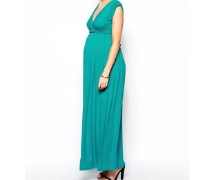 Short sleeve V neck cotton maxi maternity dress in peacock green