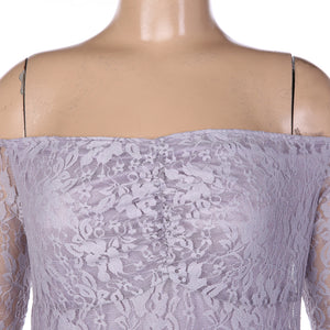 Off the shoulder long sleeve fitted lace maternity gown in lilac