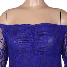 Off the shoulder long sleeve fitted lace maternity gown in royal blue