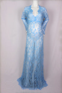 Deep plunge V neck fitted lace maternity gown in blue