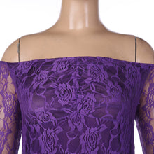 Off the shoulder long sleeve fitted lace maternity gown in purple