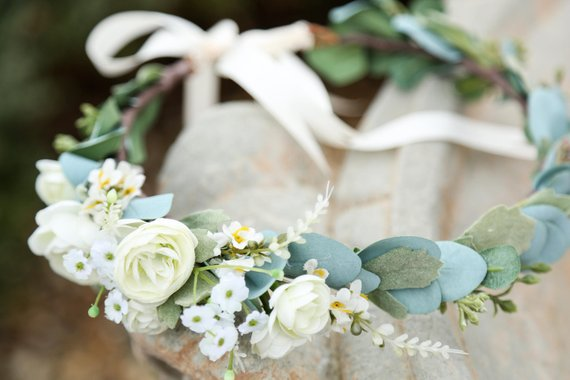 Flower Crown - White flowers with sage and eucalyptus