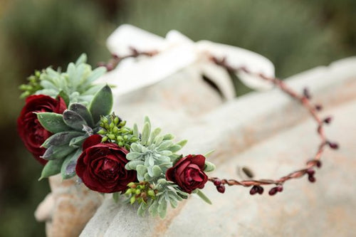 Flower crown - Burgundy roses with succulent plants