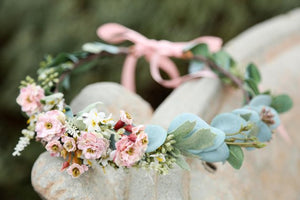 Flower Crown - Blush/Pink sage eucalyptus