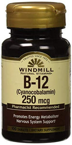 Windmill Vitamin B-12 250 MCG Tablets - 100 ea