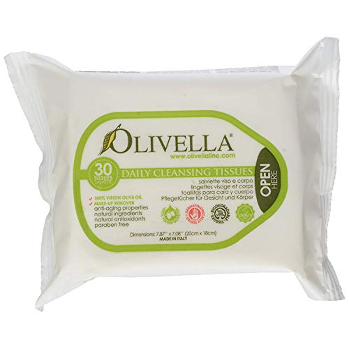 Olivella olive oil daily facial cleansing tissues - 30 Ea