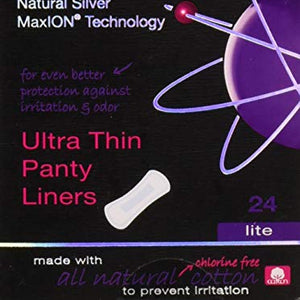 Maxim Hygiene - Natural Silver MaxION Technology Ultra Thin Panty Liners Lite - 24 Count