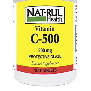 Nat - rul Health Vitamin C 500mg Tablets With Protective Glaze - 100 ea