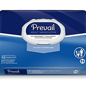 Prevail soft fabric washcloths with press N pull lid, size: 8 x 12 inches - 48 ea.