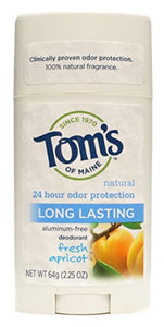 Tom's Of Maine Natural Long-Lasting Deodorant Stick Apricot - 2.25 oz
