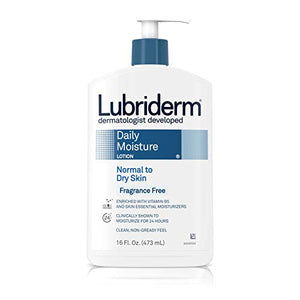 Lubriderm Daily Moisture Lotion for Normal to Dry Skin, Fragrance Free - 16 oz
