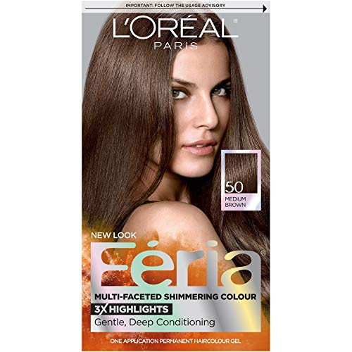 L'Oreal Feria Multi Faceted Shimmering Haircolor, 50 Medium Brown -  1 ea