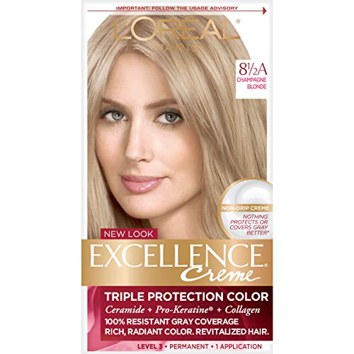 LOreal Excellence Triple Protection Hair Color Creme, 8.5A Champagne Blonde - 1 Kit