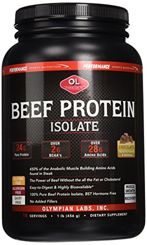 Olympian Labs Inc., Beef Protein, Rich Dark Chocolate - 1 lb